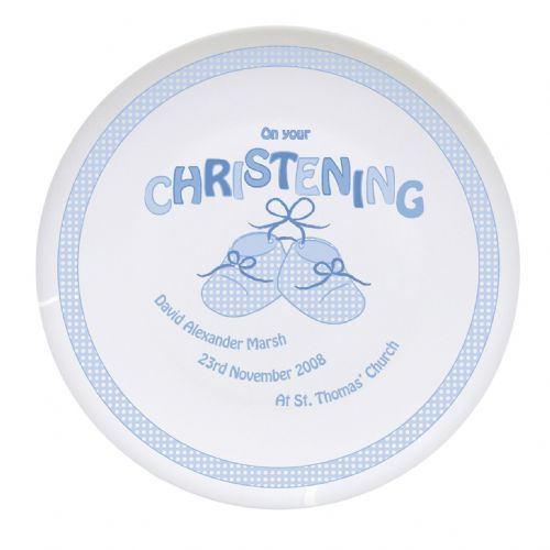 Personalised Bootee Blue Christening Plate